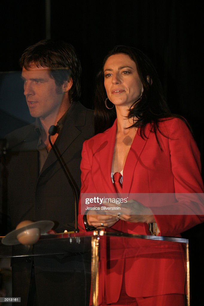 Claudia Black (R) and Ben Browder attend the 29th Annual Saturn Awards presented by Cinescape May 18, 2003 at the Renaissance Hollywood Hotel in Los Angeles, California.