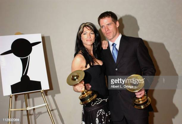 """Claudia Black and Ben Browder, winners Best Actor and Actress on Television for """"Farscape: Peacekeeper Wars"""""""