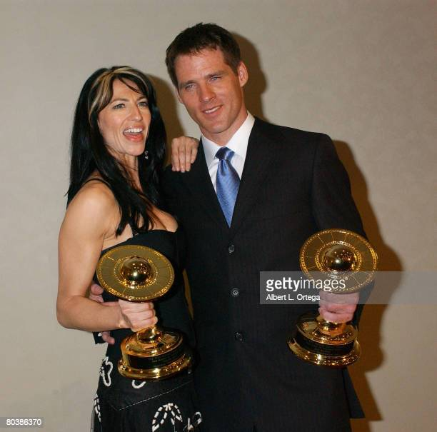 Claudia Black winner for Best Television Actress for 'Farscape Peacekeeper Wars' and Ben Browder winner for Best Television Actor for 'Farscape...