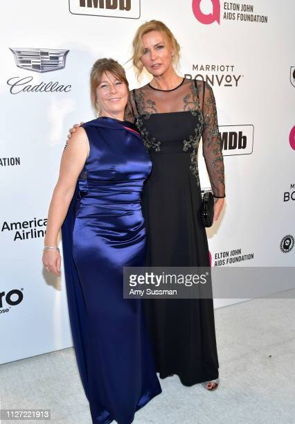Claudia Bluemhuber and Veronica Ferres attend the 27th annual Elton John AIDS Foundation Academy Awards Viewing Party celebrating EJAF and the 91st...