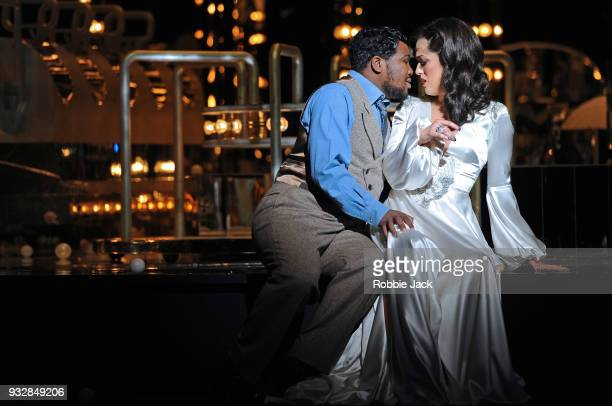 Claudia Boyle as Violetta Valery and Lukhanyo Moyake as Alfredo Germont in English National Opera's production of Giuseppe Verdi's La traviata...
