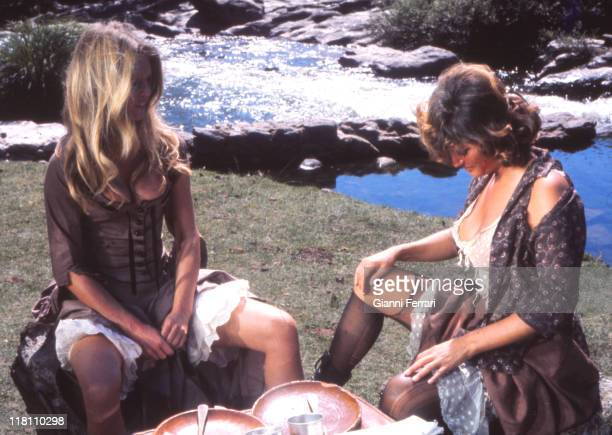 Claudia Cardinale and Brigitte Bardot during the filmation of the movie 'Las Petroleras' near Madrid, directed by Christian Jacque Madrid, Spain.