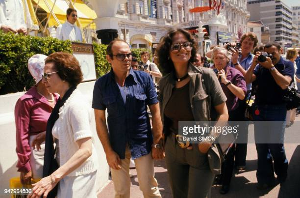 Claudia Cardinale and friend Italian director Pasquale Squitieri at Festival International du Film in May 1976 in Cannes France