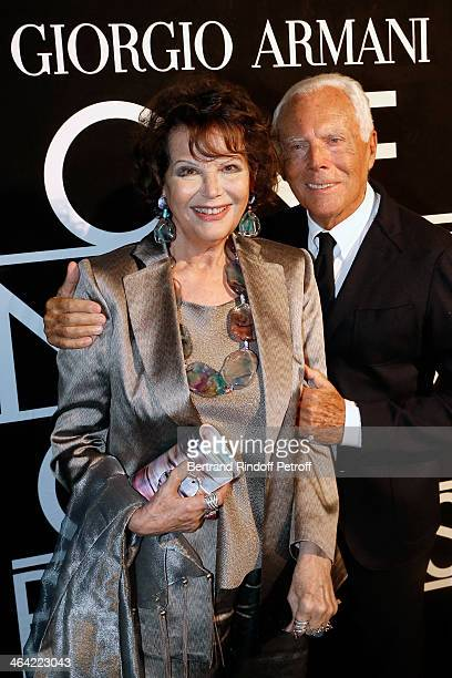 Claudia Cardinale and Giorgio Armani attend the Giorgio Armani Prive show as part of Paris Fashion Week Haute Couture Spring/Summer 2014 on January...