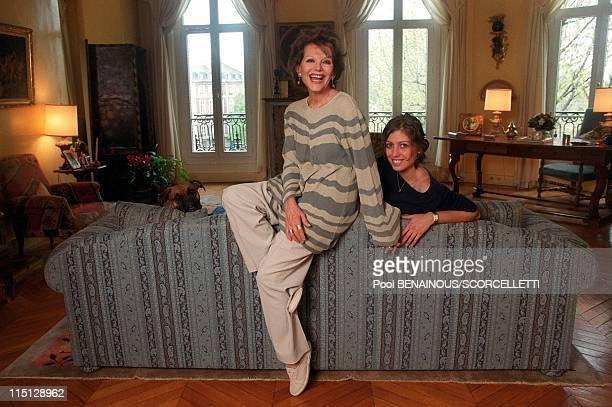 Claudia Cardinale and her daughter Claudia in their Paris apartment in Paris, France on April 26, 2000.