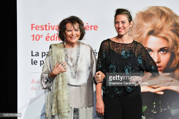 Claudia Cardinale and her daughter Claudia Squitieri attend the Prix Lumiere 2018 ceremony At the 10th Film Festival Lumiere on October 19, 2018 in...