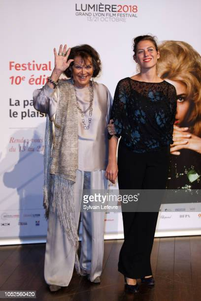 Claudia Cardinale and her daughter Claudia Squitieri attend the Prix Lumiere 2018 At 10th Film Festival Lumiere on October 19, 2018 in Lyon, France.