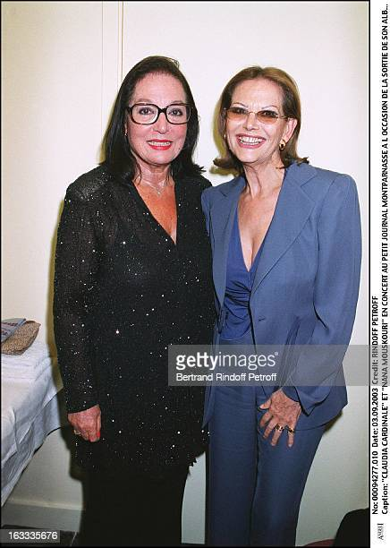 Claudia Cardinale and Nana Mouskouri concert at the Petit Journal in Montparnasse to mark the launch of her new album Nana Swing woman