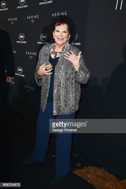 Claudia Cardinale attends the Kering Women In Motion dinner during the 71st annual Cannes Film Festival at Place de la Castre on May 13, 2018 in...