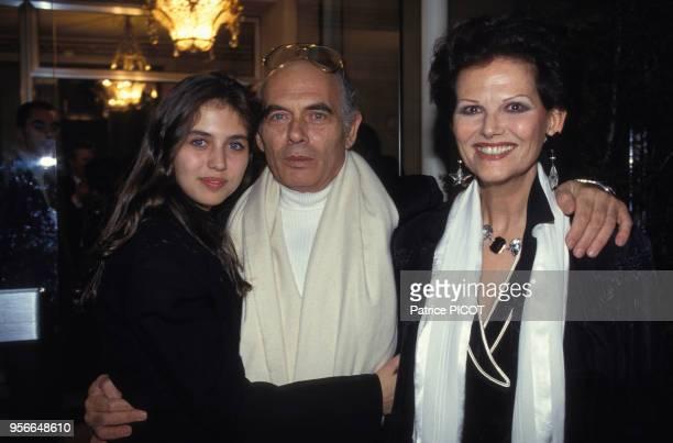 Claudia Cardinale avec son mari Pasquale Squitieri et sa fille Claudia Squitieri lors de la soirée des 40 ans de carrière Jean-Paul Belmondo à Paris...