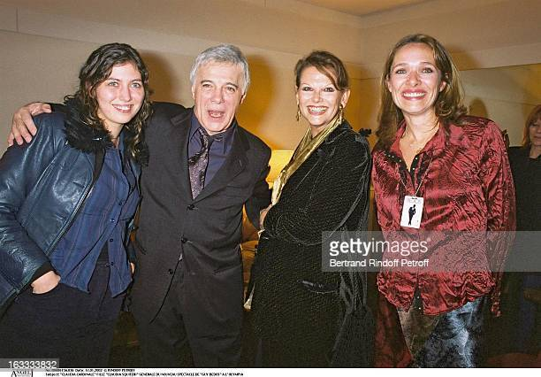 """Claudia Cardinale daughter """"Claudia Squitieri"""" preview of the new show of """"Guy Bedos"""" at the Olympia and his wife."""