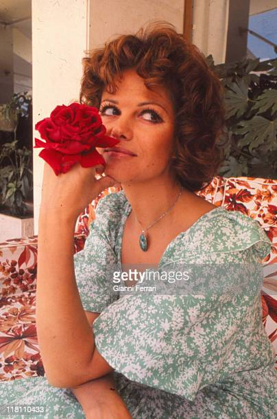 Claudia Cardinale during a photo shoot at the Hotel Villa Real Madrid Spain