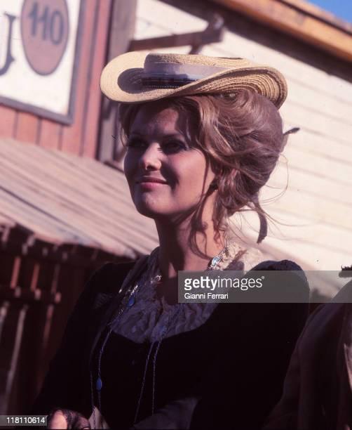Claudia Cardinale during the filmation near Granada of the movie 'C'era una volta il West' directed by Sergio Leone Granada Spain