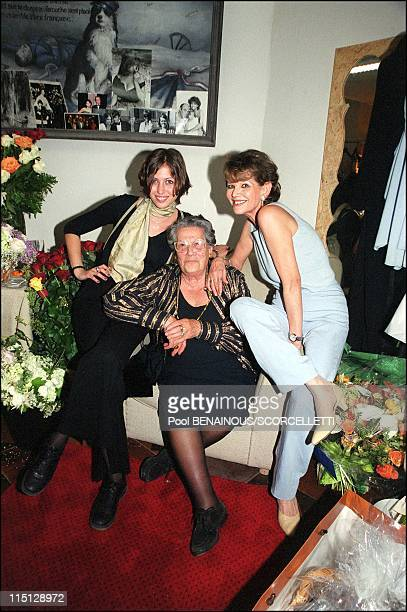 """Claudia Cardinale for the first time on stage in 'The venetian' at the """"Theatre des Champs Elysees"""" in Paris, France on May 03, 2000 - With her..."""