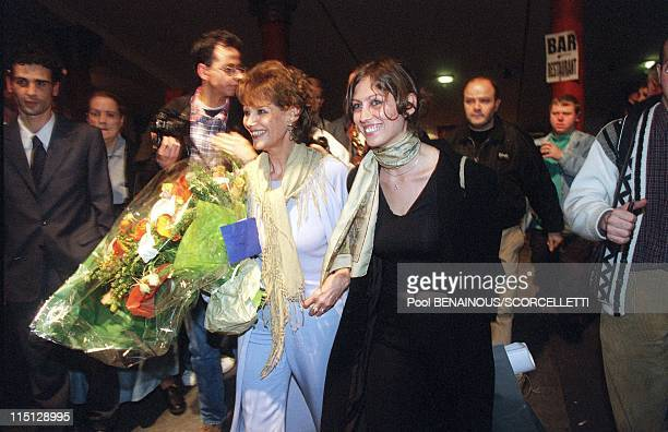 Claudia Cardinale for the first time on stage in 'The venetian' at the Theatre des Champs Elysees in Paris France on May 03 2000 With her daughter...
