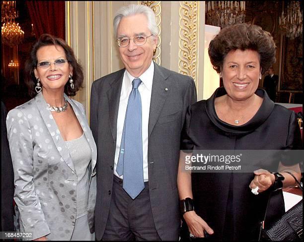 Claudia Cardinale Italy's Ambassador to France Ludivico Ortona and Carla Fendi at Claudia Cardinale And Giorgio Armani Awarded By French President...