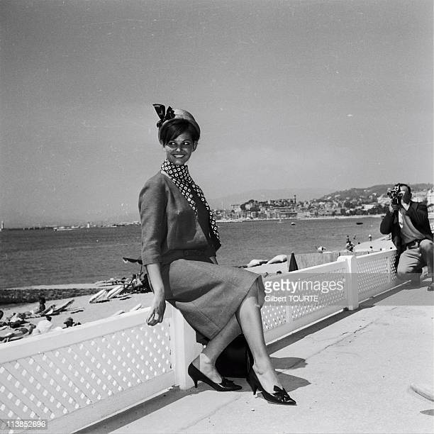 Claudia Cardinale on the croisette during the Cannes Film Festival in 1961