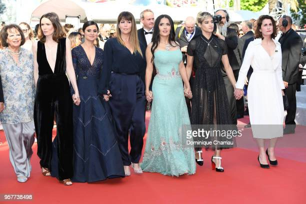 Claudia Cardinale Patty Jenkins Salma Hayek Sofia Boutella and other filmaker attend the screening of Girls Of The Sun during the 71st annual Cannes...