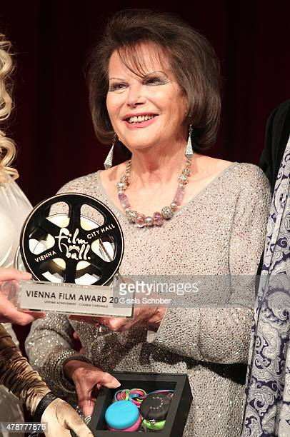 Claudia Cardinale with award attends the 5th Filmball Vienna at City Hall on March 14 2014 in Vienna Austria