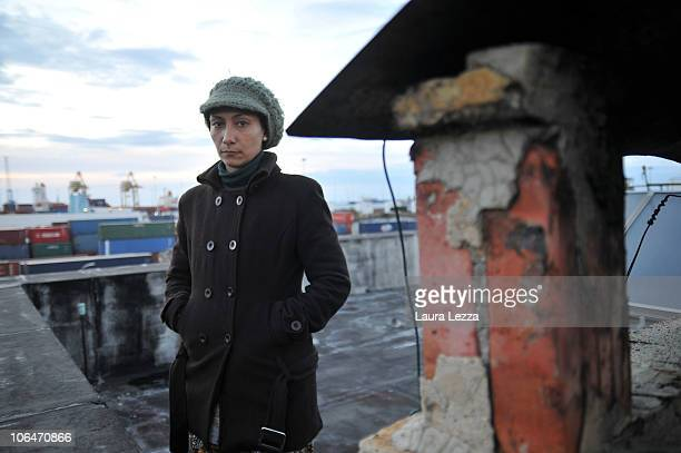 Claudia Cerase a female employee of the food industry company Giolfo  e Calcagno protests on the roof of the factory against their imminent...