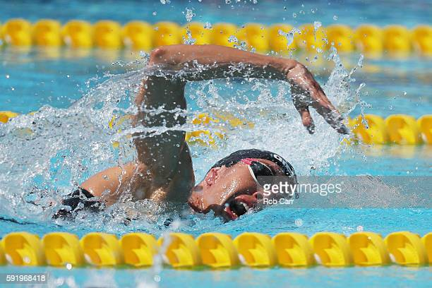Claudia Cesarini of Italy competes during the Women's Swimming Modern Pentathlon on Day 14 of the Rio 2016 Olympic Games at the Deodoro Aquatics...