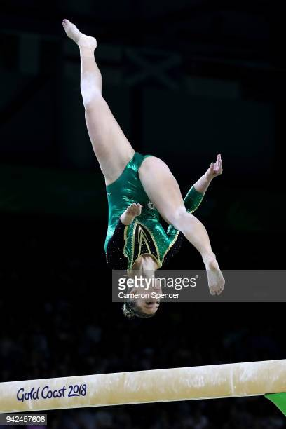 Claudia Cummins of South Africa competes on the beam during the Gymnastics Artistic Women's Team Final and Individual Qualification on day two of the...