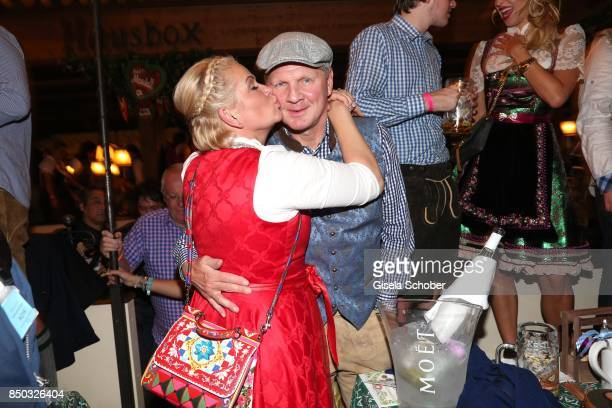 Claudia Effenberg and her husband Stefan Effenberg celebrate her birthday' during the Oktoberfest at Marstall tent at Theresienwiese on September 20...