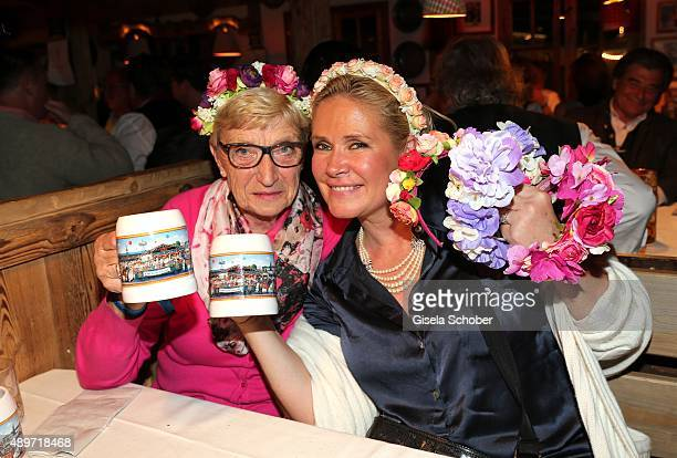 Claudia Effenberg and her mother Carola Effenberg during the Oktoberfest 2015 at Kaeferschaenke at Theresienwiese on September 23, 2015 in Munich,...