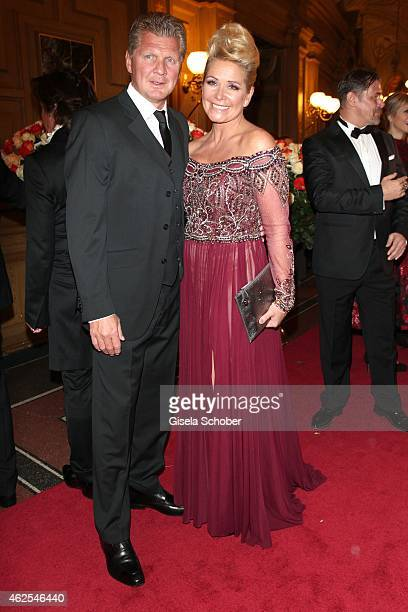 Claudia Effenberg and her partner Stefan Effenberg during the Semper Opera Ball 2015 at Semperoper on January 30 2015 in Dresden Germany