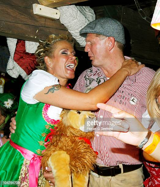 Claudia Effenberg and husband Stefan Effenberg attend the opening evening of the Oktoberfest 2010 at Kaefers Wiesnschaenke at Theresienwiese on...