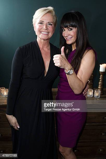 Claudia Effenberg and Mariella ahrens attend the book presentation of Jens Hilbert at Soho House on February 27, 2014 in Berlin, Germany.
