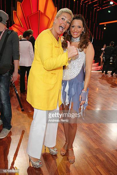 Claudia Effenberg and Simone Ballack attend the 3rd Show of 'Let's Dance' on the German RTL network on April 19 2013 in Cologne Germany
