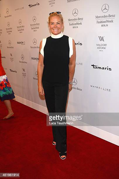 Claudia Effenberg attends the Laurel show during the Mercedes-Benz Fashion Week Spring/Summer 2015 at Erika Hess Eisstadion on July 10, 2014 in...