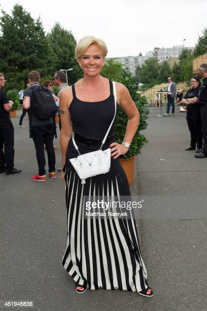 Claudia Effenberg attends the Marcel Ostertag show during the MercedesBenz Fashion Week Spring/Summer 2015 at Erika Hess Eisstadion on July 9 2014 in...