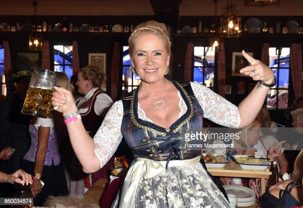 Claudia Effenberg celebrates her birthday during the Charity Lunch at 'Zur Bratwurst' during the Oktoberfest 2017 on September 20, 2017 in Munich,...