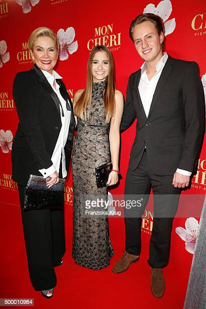 Claudia Effenberg, her daughter Lucia Strunz and her boyfriend Gabo attend the Mon Cheri Barbara Tag 2015 at Postpalast on December 4, 2015 in...