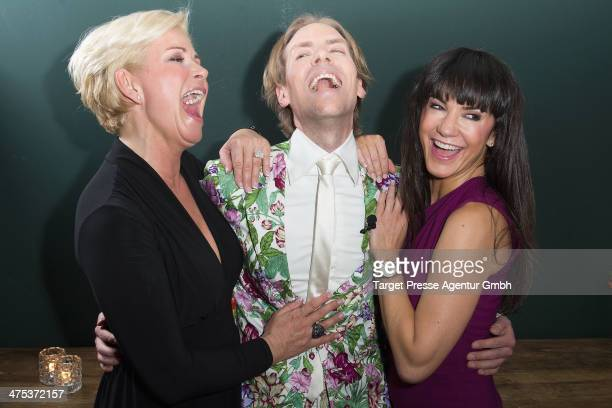 Claudia Effenberg, Jens Hilbert and Mariella ahrens attend the book presentation of Jens Hilbert at Soho House on February 27, 2014 in Berlin,...