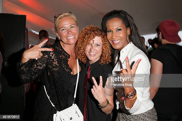 Claudia Effenberg Lucy Diakovska and Marie Amière attend the Arqueonautas Presents Kevin Costner Music Meets Fashion at Spindler Klatt on July 08...