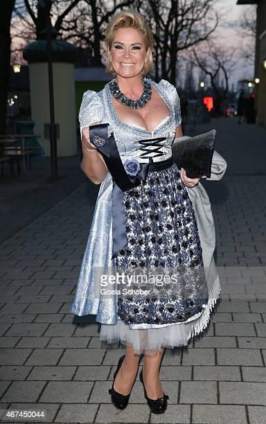 Claudia Effenberg wearing a ce design dirndl by Claudia Effenberg during the SIXT fashion dinner at Nockherberg on March 24 2015 in Munich Germany