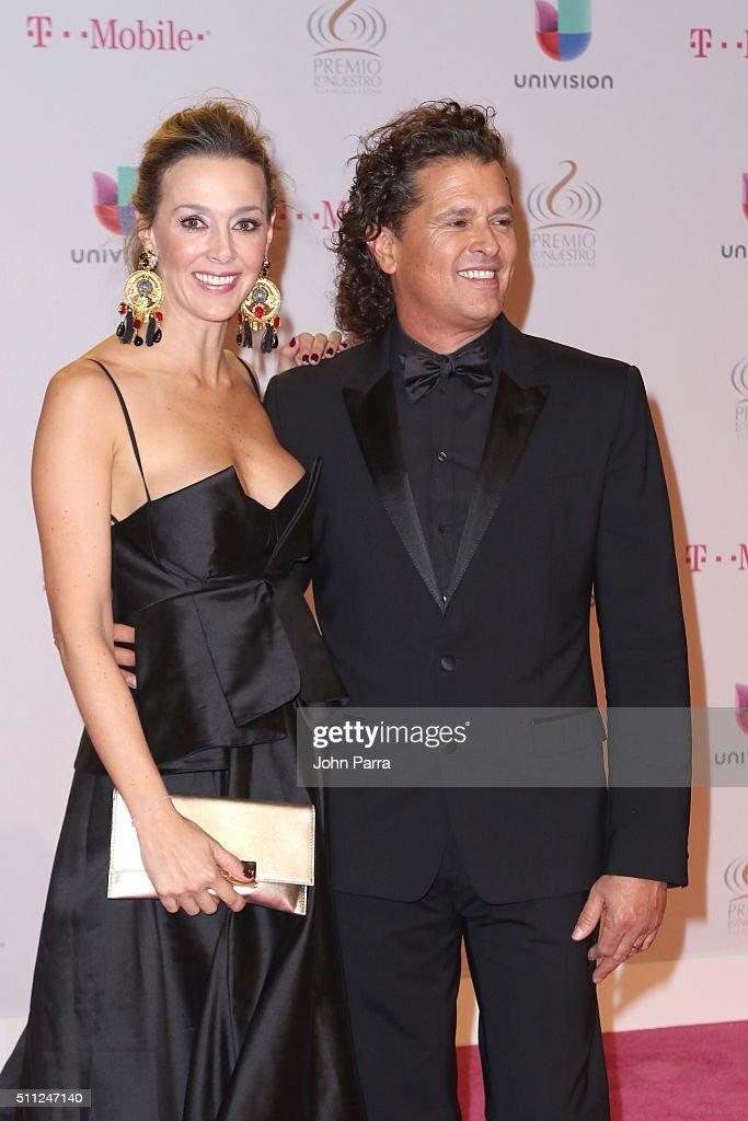 Claudia Elena Vásquez and Carlos Vives attend Univision's 28th Edition of Premio Lo Nuestro A La Musica Latina on February 18, 2016 in Miami, Florida.