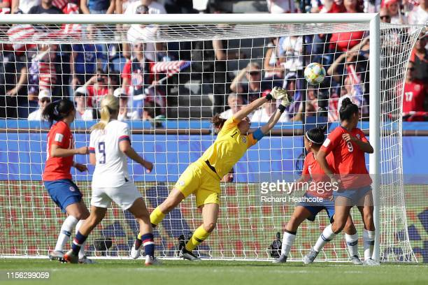Claudia Endler of Chile fails to save from Julie Ertz of the USA as Julie Ertz scores her team's second goal during the 2019 FIFA Women's World Cup...
