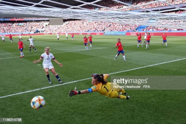 Claudia Endler of Chile makes a save during the 2019 FIFA Women's World Cup France group F match between USA and Chile at Parc des Princes on June...