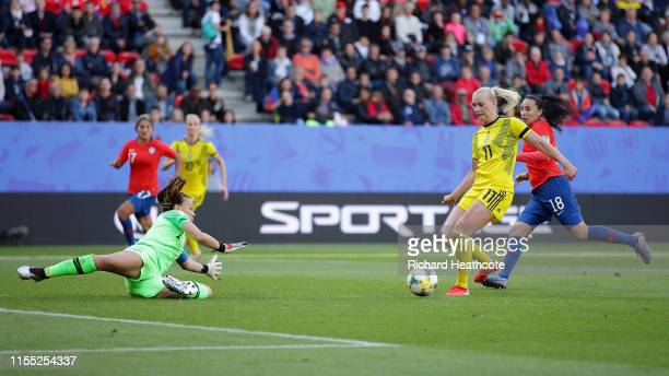 Claudia Endler of Chile saves from Stina Blackstenius of Sweden during the 2019 FIFA Women's World Cup France group F match between Chile and Sweden...