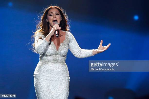 Claudia Faniello representing Malta performs the song 'Breathlessly' during the second semi final of the 62nd Eurovision Song Contest at...