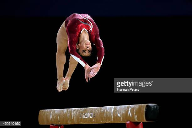 Claudia Fragapane of England competes on the way to winning the gold medal in the Women's AllRound Final during day seven of the Glasgow 2014...