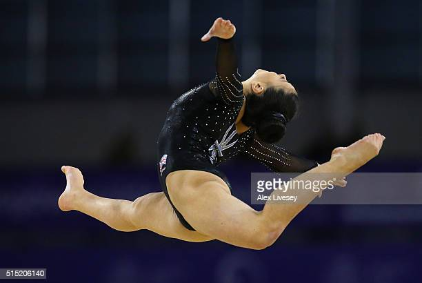 Claudia Fragapane of the British Gymnastics Team competes on the Floor during the Womens AllAround Artistic World Cup competition at the Emirates...