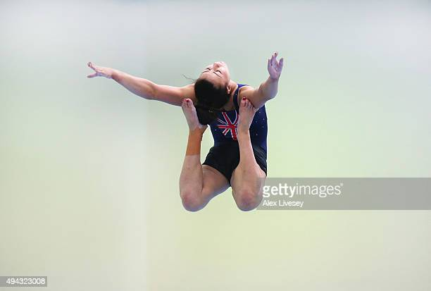 Claudia Fragapane of the British Gymnastics Team practices on the Beam during a training session at Lilleshall National Sports Centre on October 15,...
