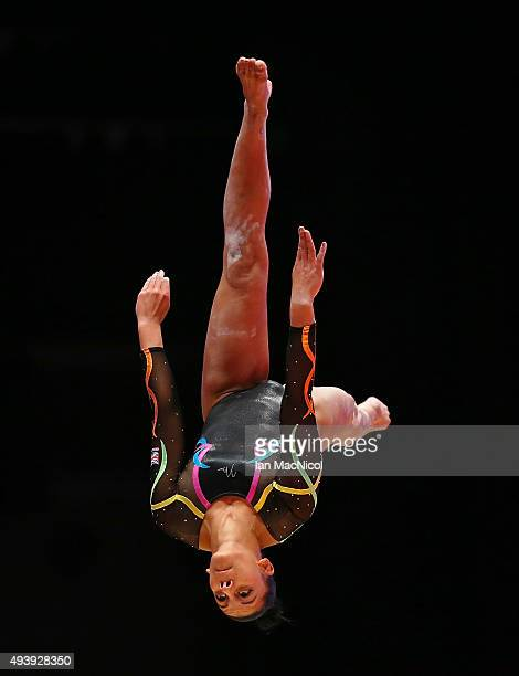 Claudia Frangapane of Great Britain competes on the Beam during Day One of the 2015 World Artistic Gymnastics Championships at The SSE Hydro on...