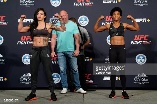 Claudia Gadelha and Angela Hill pose for media during the official UFC Fight Night weighin on May 15 2020 in Jacksonville Florida