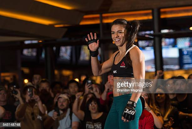 Claudia Gadelha holds an open training session for fans and media at at MGM Grand Hotel Casino on July 5 2016 in Las Vegas Nevada